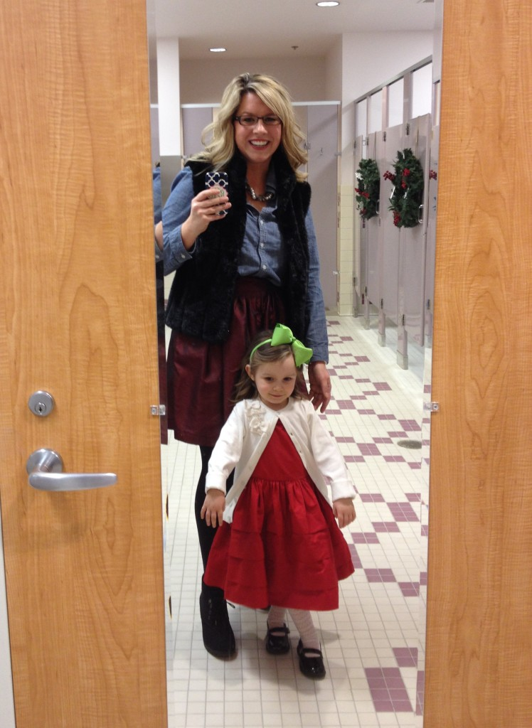 Church bathroom selfie with my big girl :)