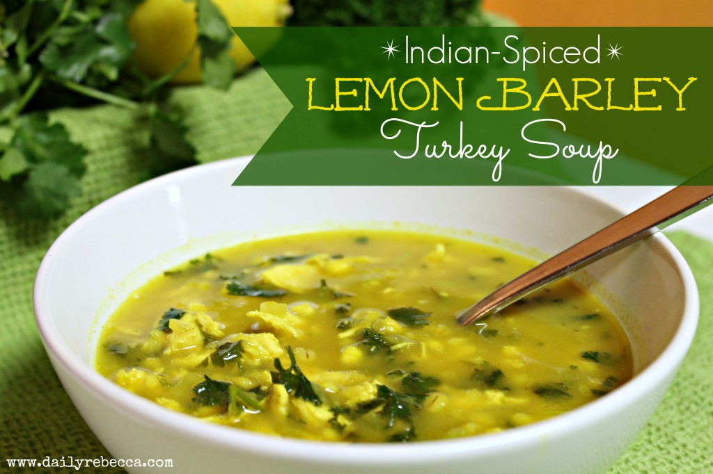 Indian Spiced Lemon Barley Turkey Soup - Daily Rebecca