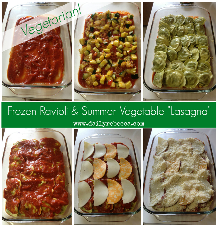 Frozen Ravioli and Summer Vegetable Bake