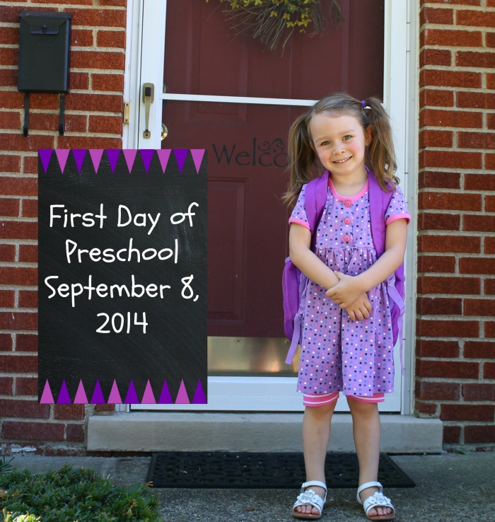 first day of preschool with chalkboard