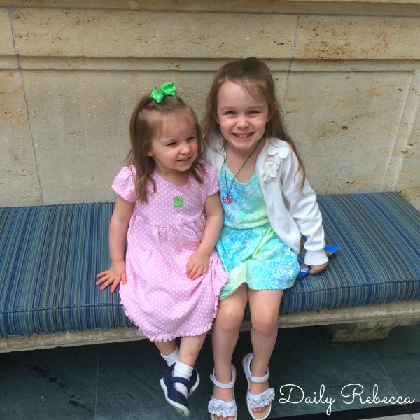 girls in atrium