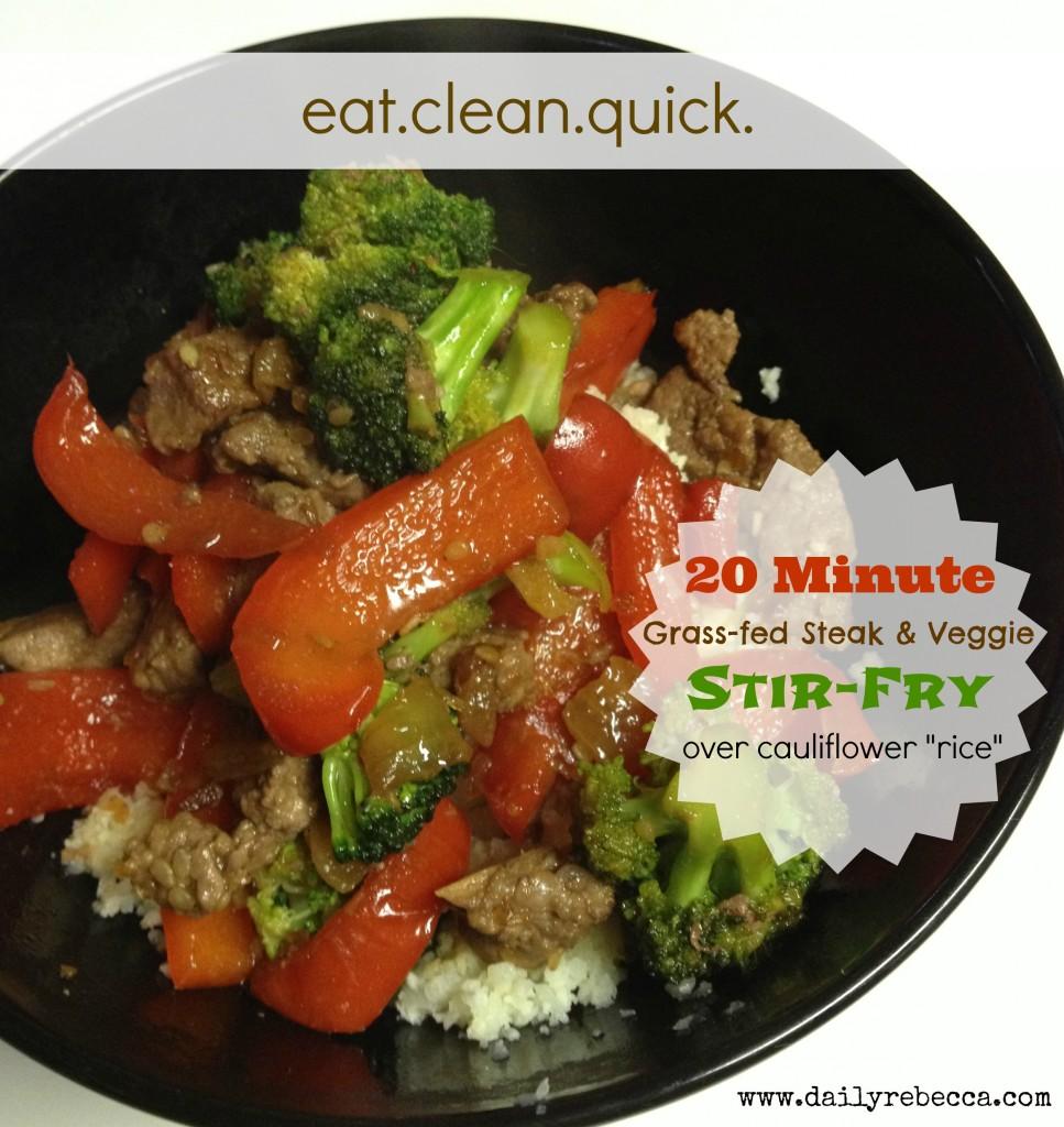 """Steak & veggie stir-fry over cauliflower """"rice"""""""
