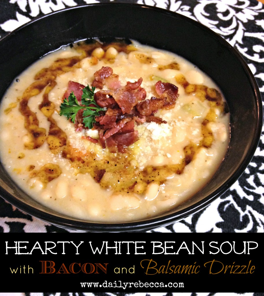 hearty white bean soup with bacon and balsamic drizzle