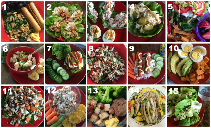 whole30 lunch collage numbered